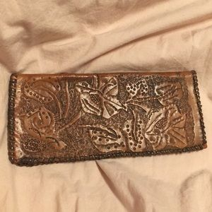 Vintage Floral Embossed Leather Wallet